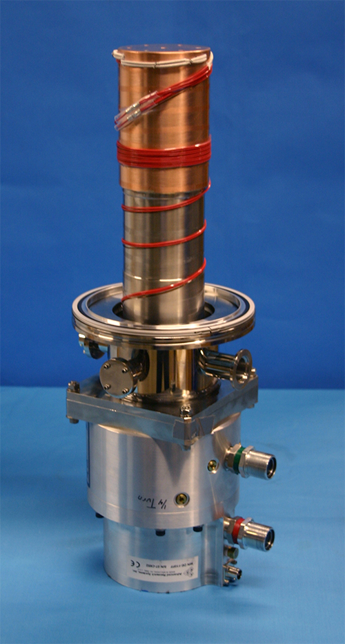 DE-110 with ISO flange and instrumentation for easy connection to a vacuum chamber. UHV knife-edge flanges are also available.