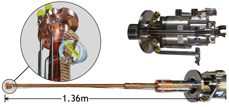"""High power cryostat with 6ft extension for insertion into a superconducting vector magnet. Includes wiring for RF Measurements and XYZ Piezo Stage control. All feedthroughs and hoses are bent for 360 degree cryostat rotation within a 10"""" clear diameter. Based of off DE-215S cryocooler."""