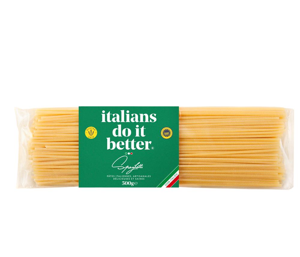 """Spaghetti 500g   4/5 personnes - cuisson al dente 9/10 min. + faites revenir 1 min. avec la sauce """"in padella"""" ( à la poêle )  1L d'eau + 10g de sel + 100g pasta"""