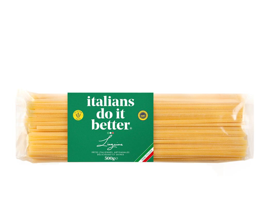 """Linguine 500g   4/5 personnes - cuisson al dente 7/8 min. + faites revenir 1 min. avec la sauce """"in padella"""" ( à la poêle )  1L d'eau + 10g de sel + 100g pasta"""