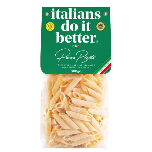 """Penne Rigate 500g   4/5 personnes - cuisson al dente 7/8 min. + faites revenir 1 min. avec la sauce """"in padella"""" ( à la poêle ) .  1L d'eau + 10g de sel + 100g pasta"""