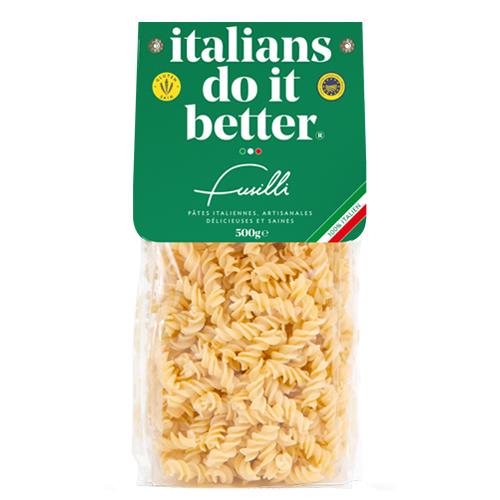 """Fusilli 500g   4/5 personnes - cuisson al dente 8/9 min. + faites revenir 1 min. avec la sauce """"in padella"""" ( à la poêle ) .  1L d'eau + 10g de sel + 100g pasta"""