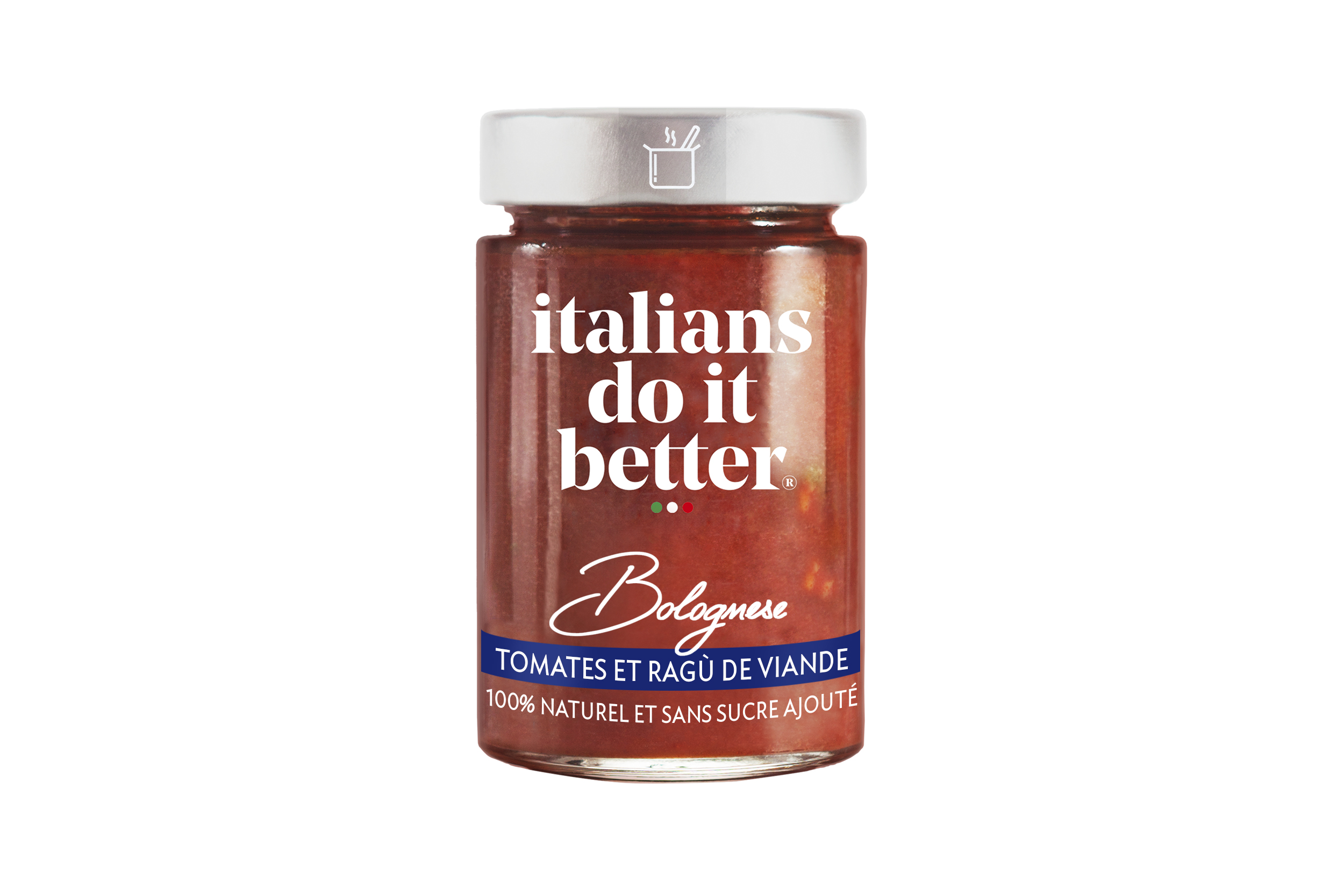 Bolognese   Tomatoes (71%), Beef Meat (14%), Onions, Carrots, Celery, Extra Virgin Olive Oil, Salt, Basil, Garlic, Pepper.  A delicious Bologna recipe, loved for its sophistication among the Italian nobility since the 18th century. Exceptional products perfectly cooked.   How to do it better :  Cook with  spaghetti or fusilli.  Sprinkle with Parmigiano Reggiano.