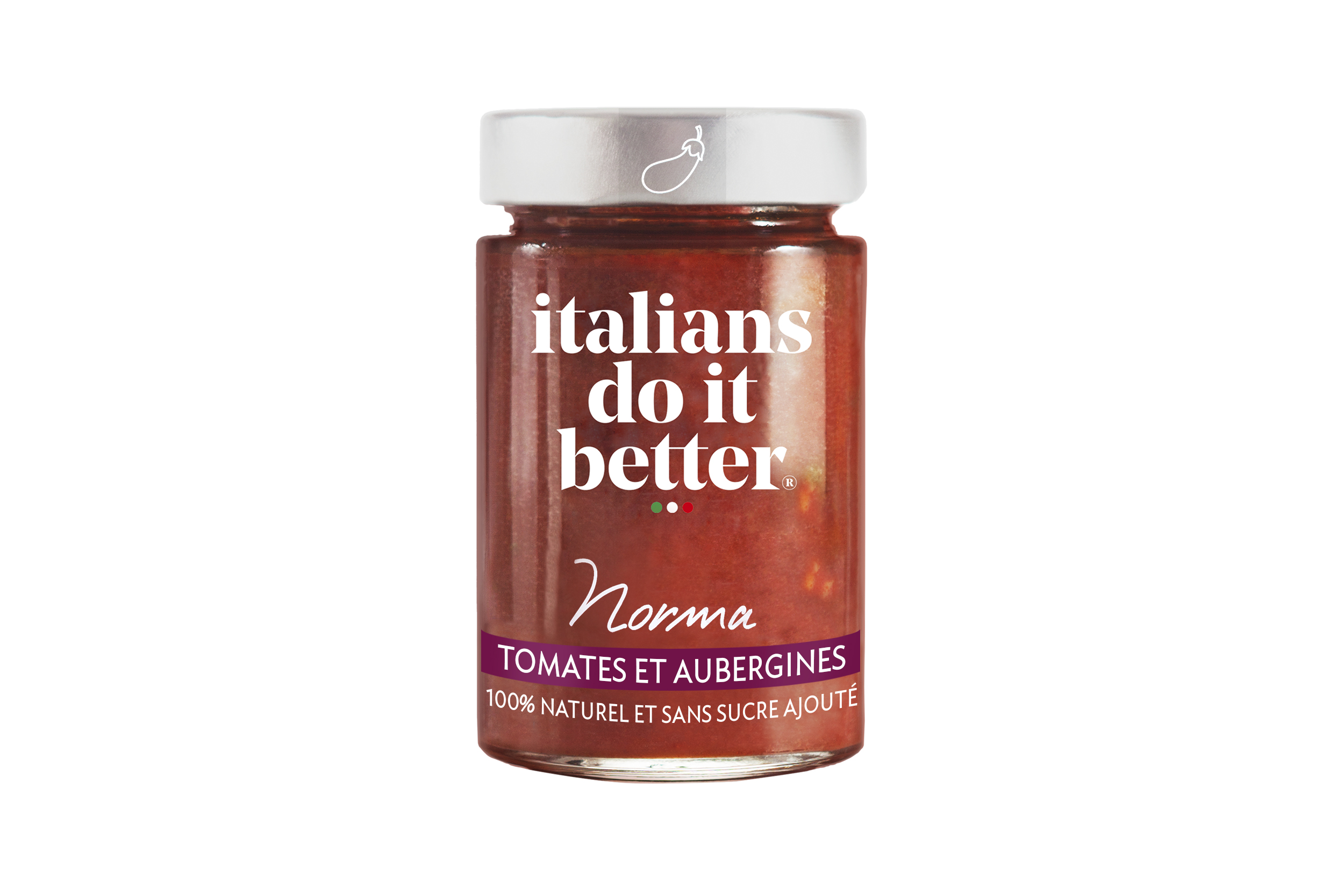 Norma   Tomatoes (82%), Eggplants (12%), Onions, Olive Oil, Basil, Salt, Garlic, Chili, Pepper.  A Sicilian tomato sauce with aubergines, inspired by Bellini's eponymous opera, that warms the vocal chords and charms the taste buds!   How to do it better :  Cook with  s  paghetti or fusilli.  Sprinkle with Parmigiano Reggiano.