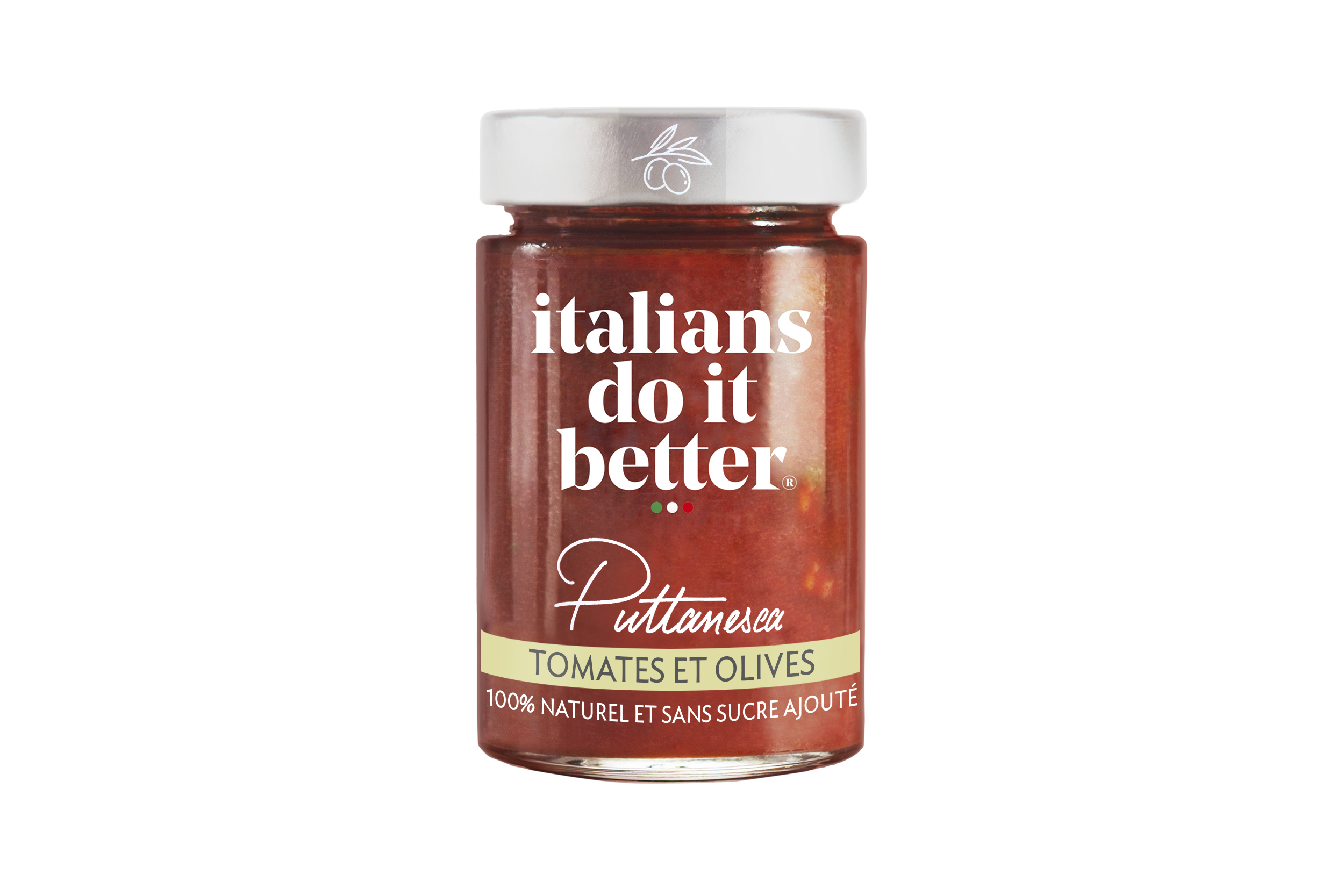 Puttanesca   Tomatoes (87%), Olives (8%), Extra Virgin Olive Oil, Salt, Capers, Garlic, Chili, Basil.  This recipe with character was born on the island of Ischia. Legend has it that its aroma excited Neapolitan men. A great classic in Italian gastronomy, enjoyed since the 19th century.   How to do it better :  Cook with  penne rigate or spaghetti.  Sprinkle with Parmigiano Reggiano.