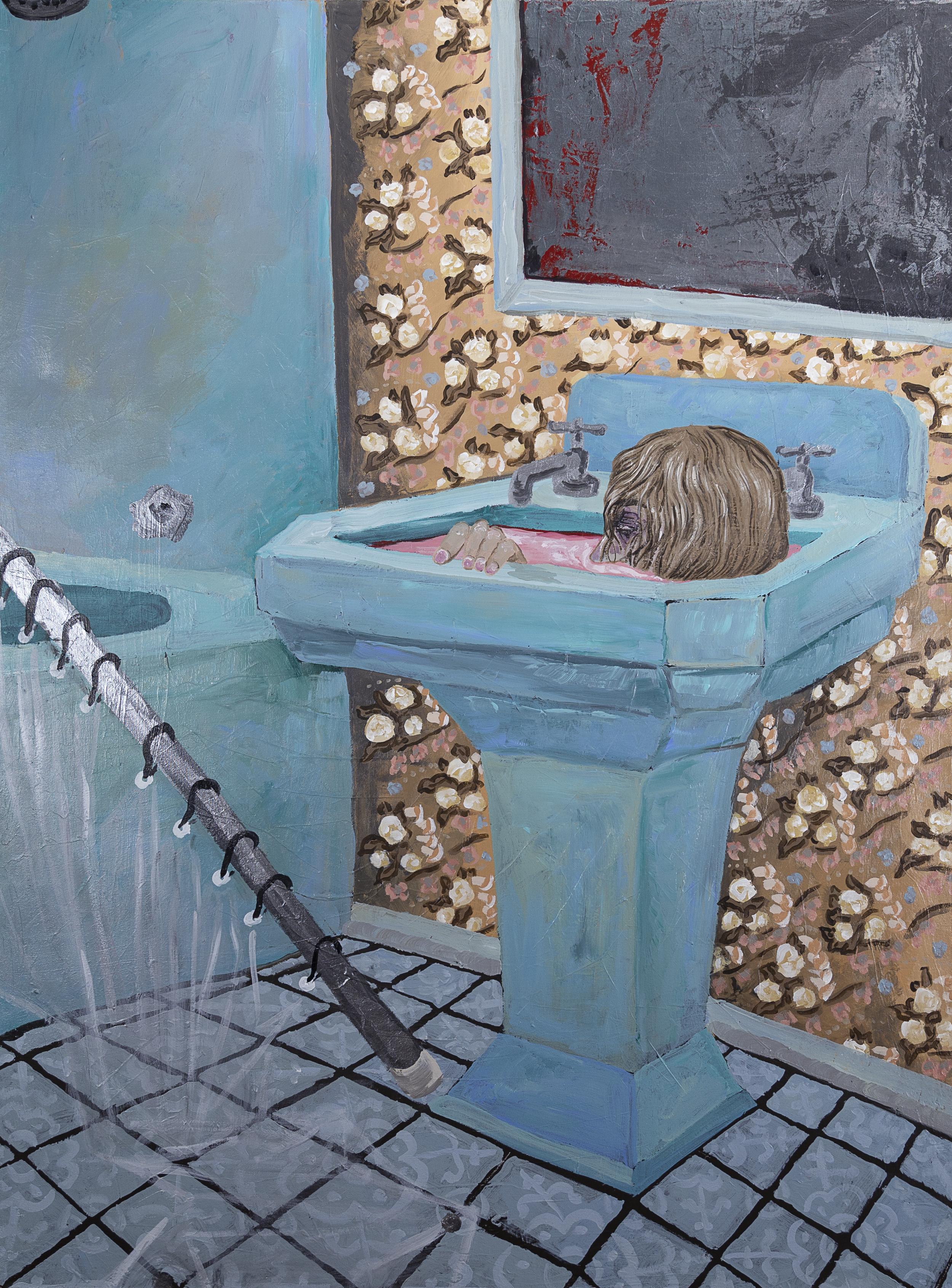 "Sink , 2017, 36x48"" acrylic on canvas"