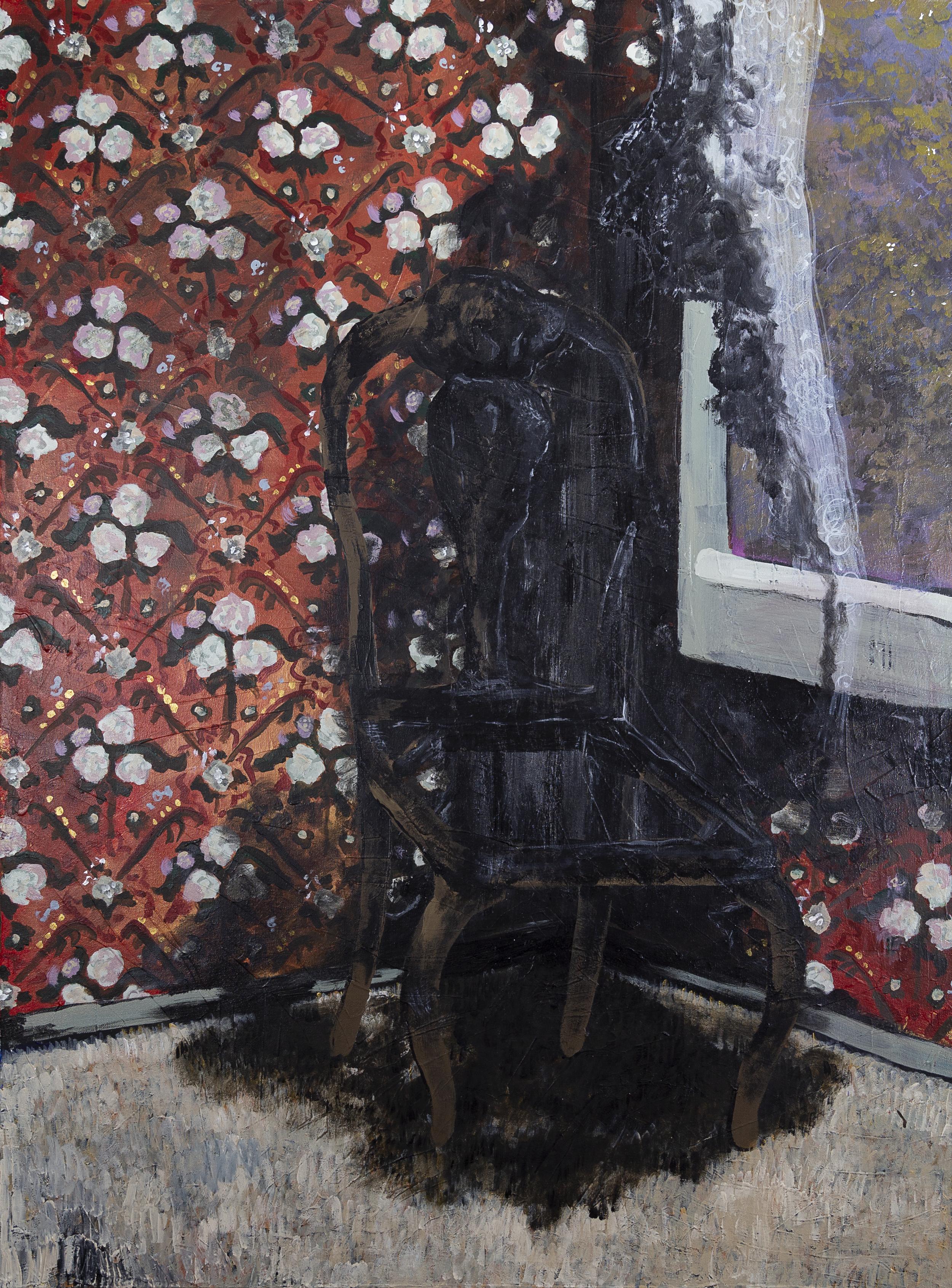 """Burned Chair , 2017, 36x48"""" acrylic on canvas"""