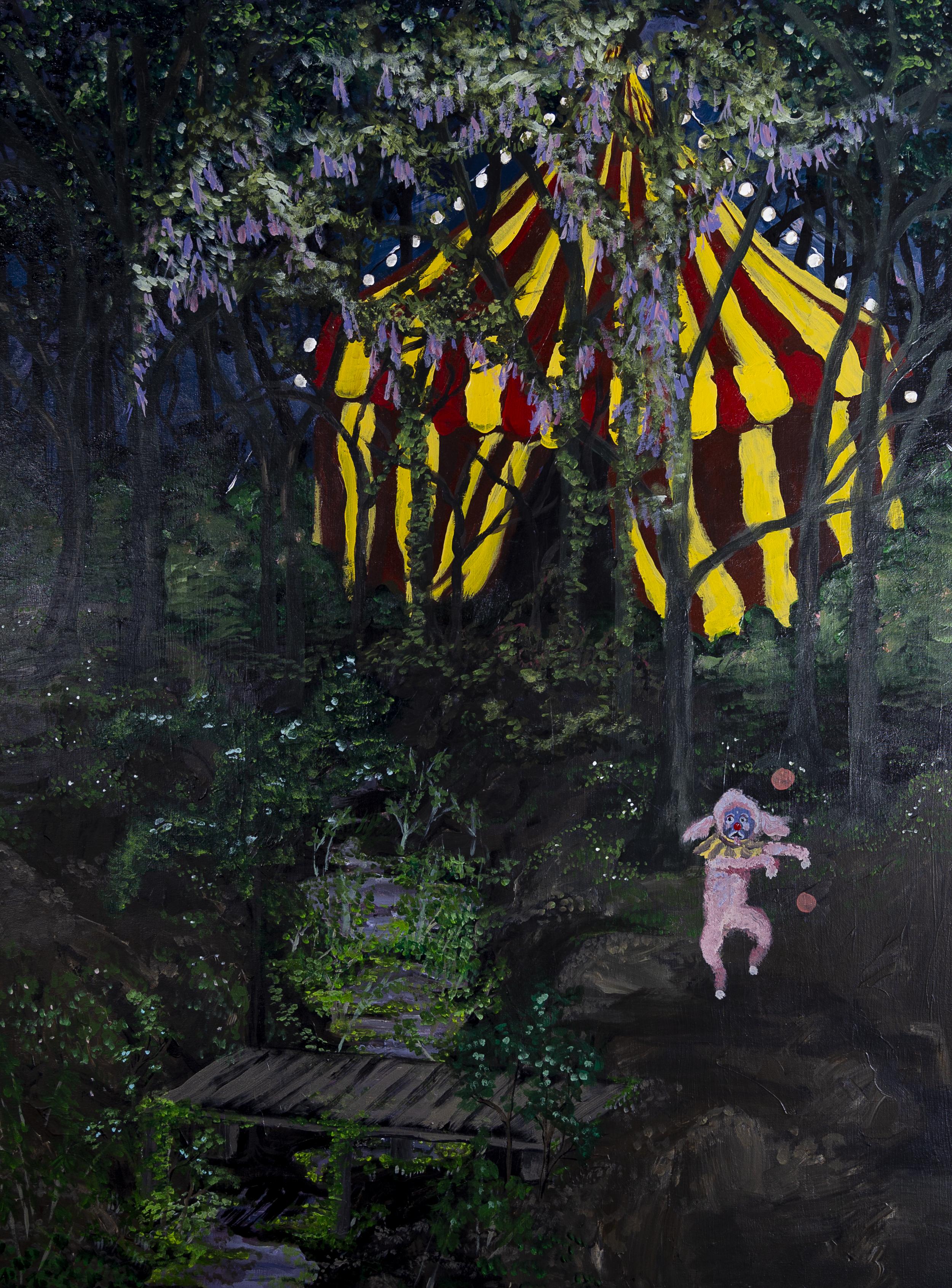"""Circus Dog , 2017, 36x48"""" acrylic on canvas"""