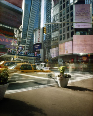 Rose Marasco: # New York City Pinhole # Photographs # April 3 – May 3, 2014 <alt: Times Square photograph>