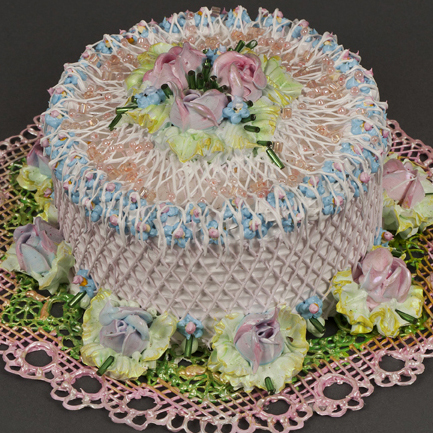 Pat Lasch: # Baker's Dozen # April 24 – May 30, 2012 <alt: Acrylic pink cake with pink roses on top/>
