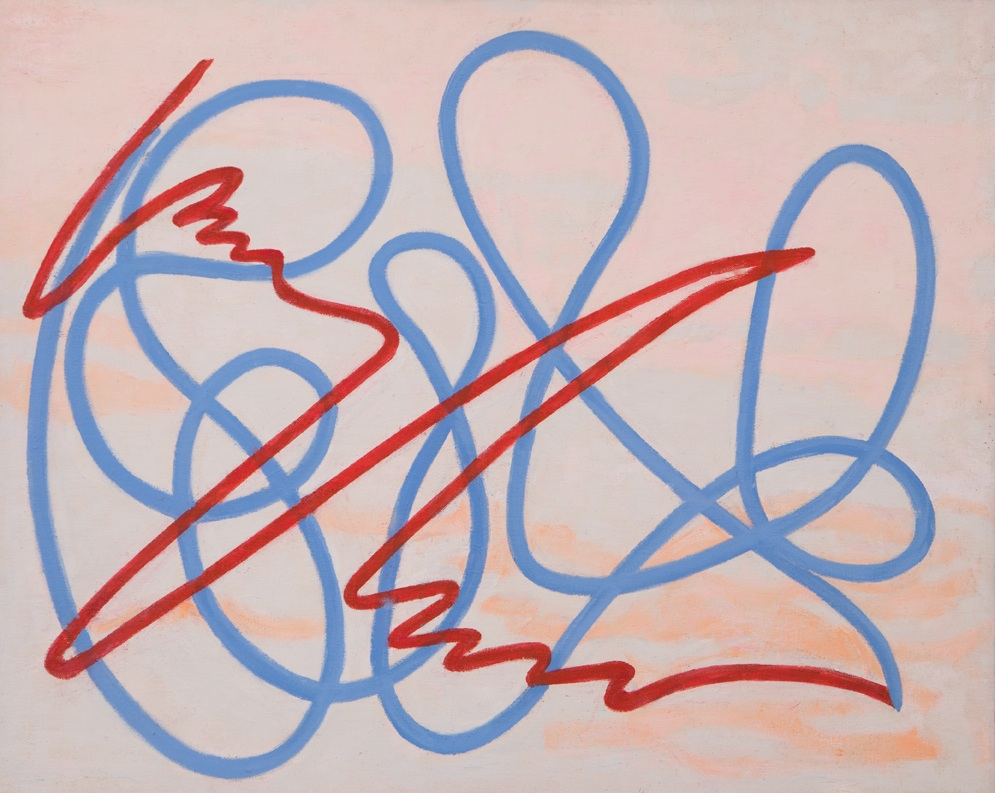 Abstract squiggle lines (like a signature) in red and blue