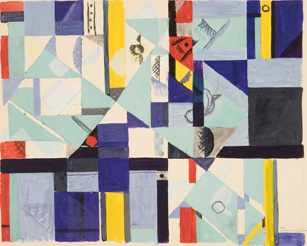 Albert Swinden: # Rhythmic Geometry # November 18 – December 30, 2011 <alt: Abstract shapes in blue, red, black, yellow</>