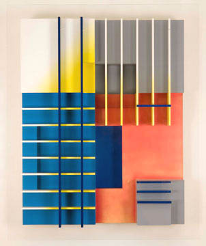 American Modernism # Summer 2009 <alt: Geometric work with black and white lines on white, grey, blue, and pink background</>