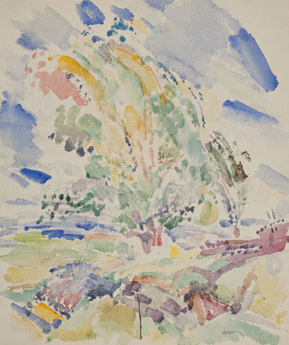 Abstract watercolor valley with blue, green, yellow, black, and purple brushstrokes