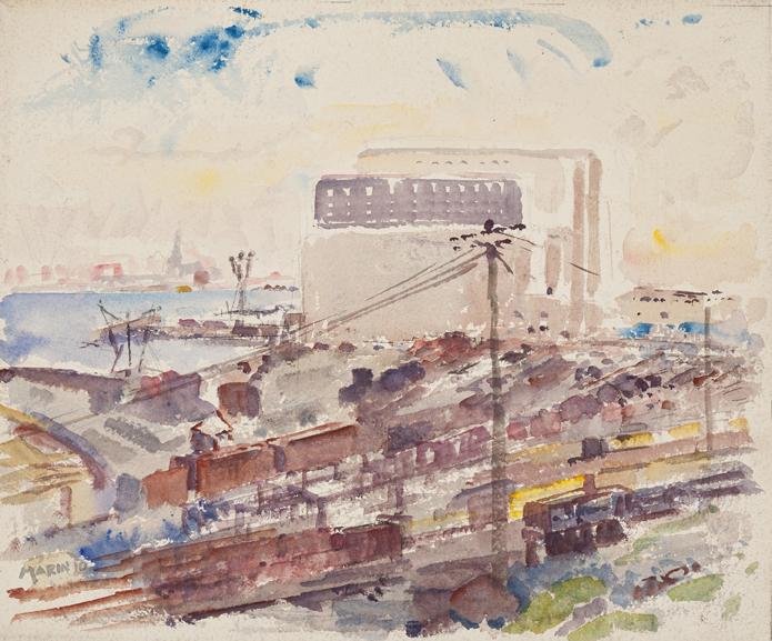 Watercolor railroad yard in muted tones