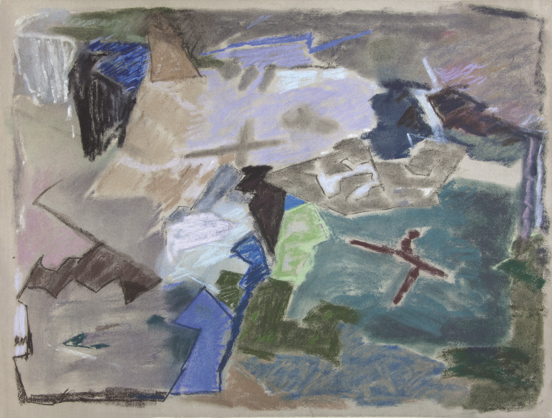 Abstract pastel work with floating shapes in blue, black, green, brown, purple
