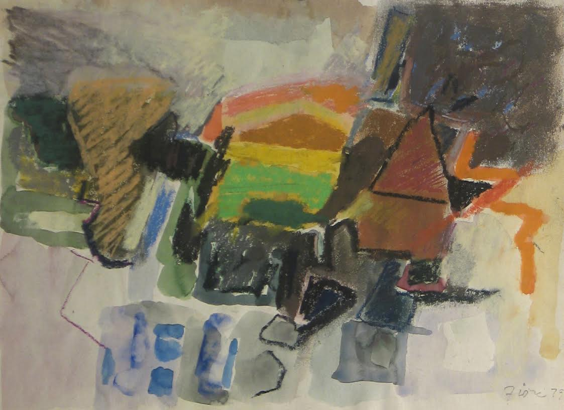 Abstract pastel work with floating shapes in muted tones, with yellow, green, and orange elements