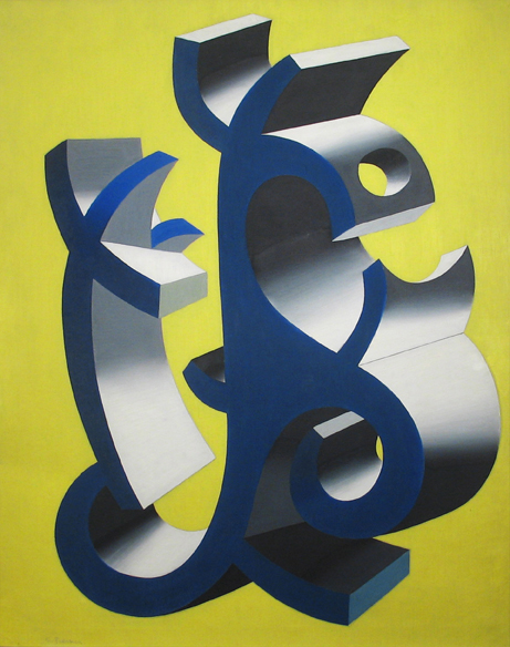 Abstract shape in black and blue on yellow/green background