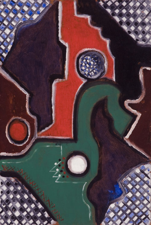 Abstract painting with green and red shapes