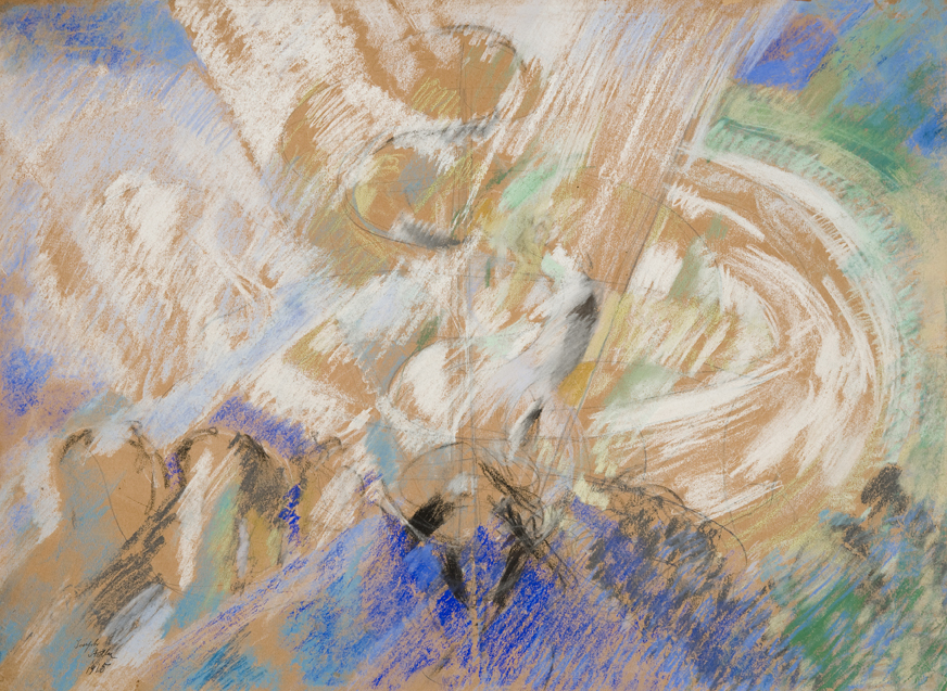 Abstract strokes in white, blue, green in pastel and pencil