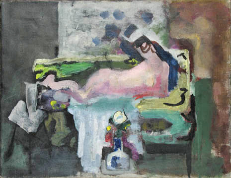 Abstract nude on sofa with vase of flowers