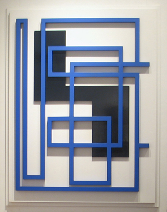 Sculpture with blue and black wood