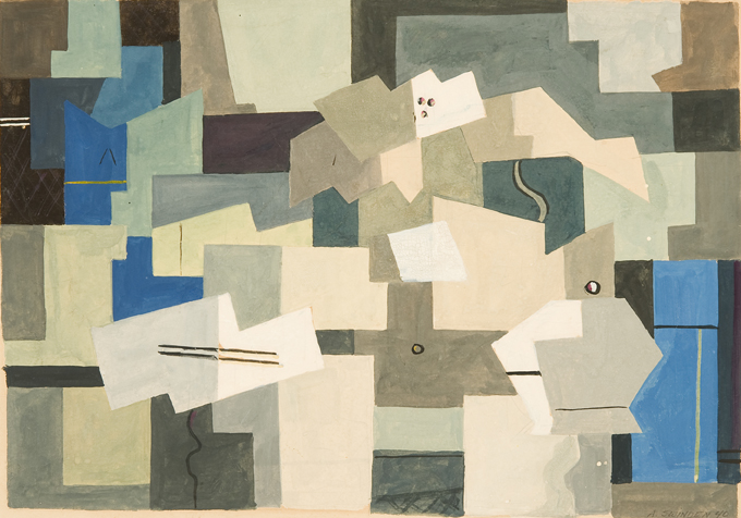 Abstract shapes in blue, green, beige