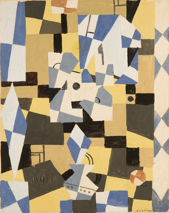 Abstract shapes in blue, beige, black