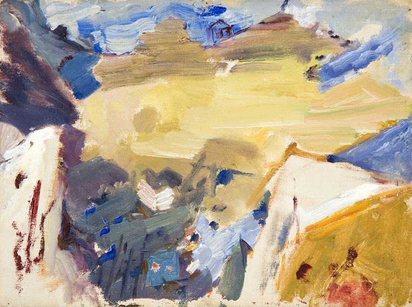 Abstract painting with yellow, blue, purple