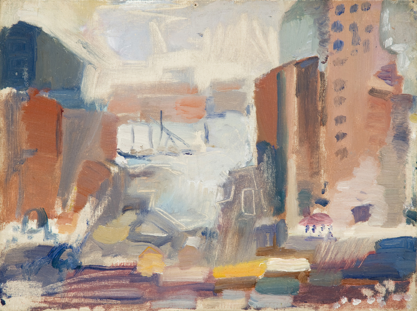 Abstract painting of cityscape