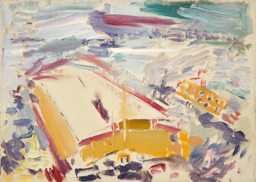 Abstract painting of yellow structure with brushstroke background