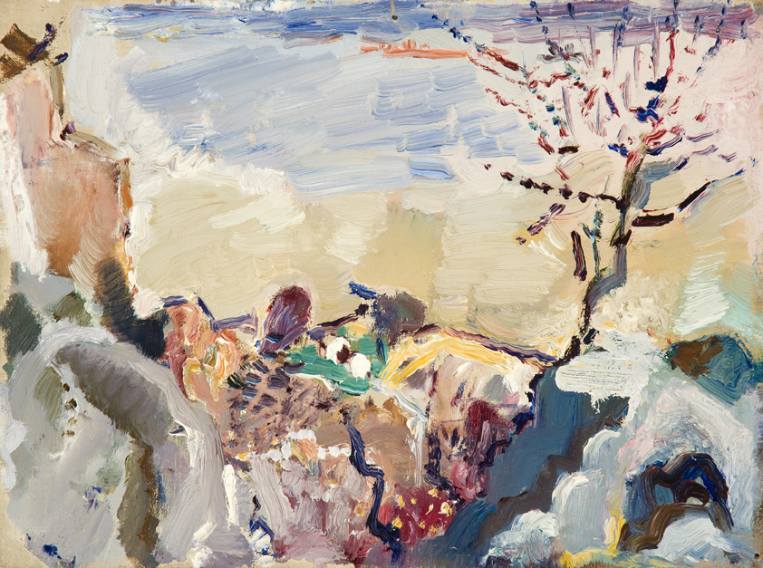 Abstract painting of rocky landscape