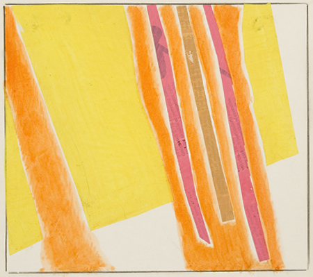 Abstract vertical shapes (orange, yellow, pink, beige, white)