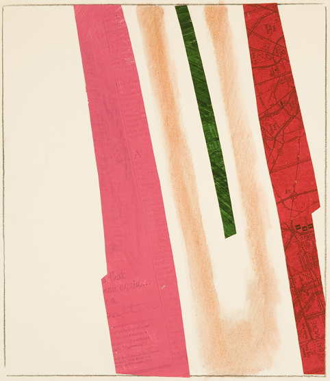 Abstract vertical shapes (pink, beige, green, red)