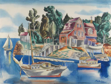 Watercolor of island with home and trees and water with boats