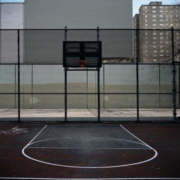 Photo of basketball court (dark tone)