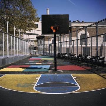 Photo of basketball court (very colorful)