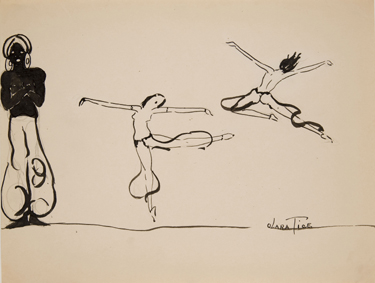 Drawing of three dancers