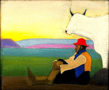 Man sitting against open landscape next to white animal