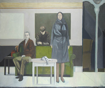 Painting of woman standing and two men in front of green couch
