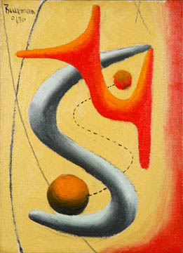 Abstract painting with black, orange, red, yellow