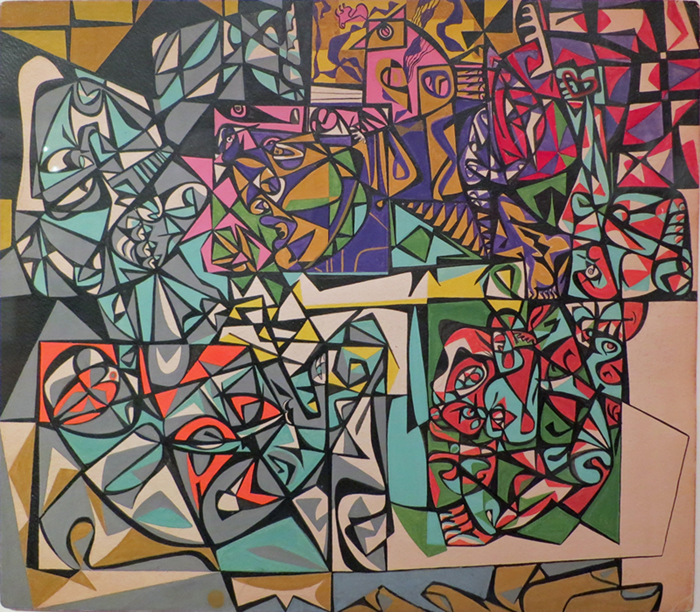 Abstract shapes (pink, yellow, black, blue, grey, purple, red, green)