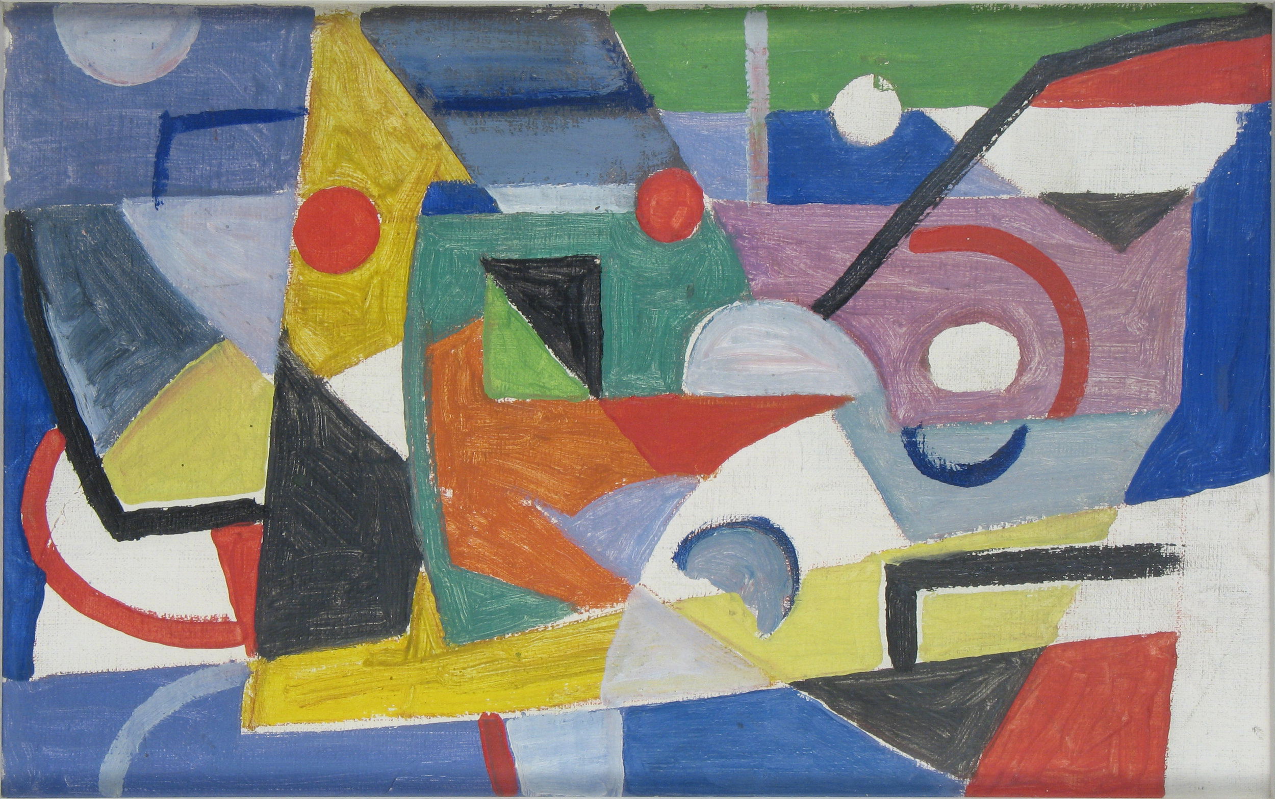 Abstract shapes (yellow, blue, orange, white, red)