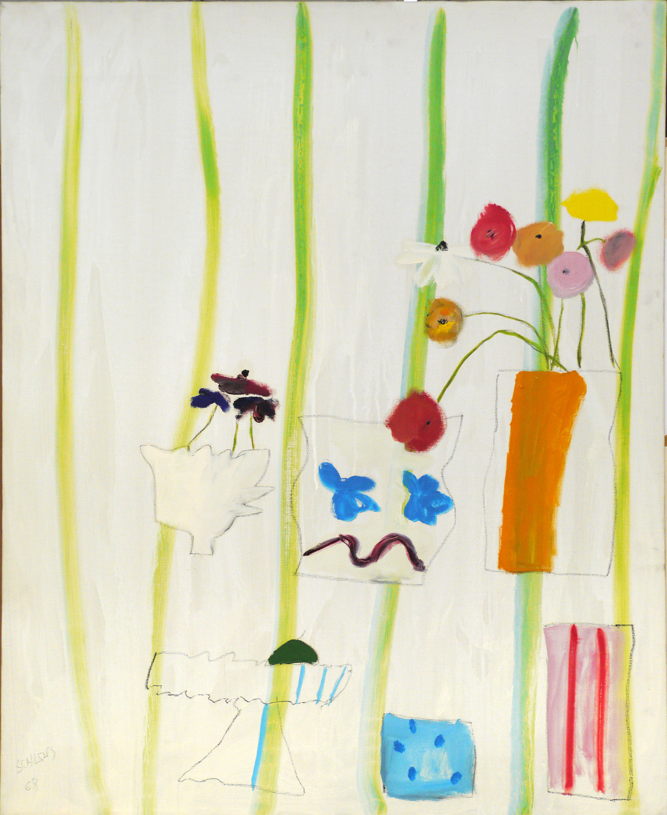 White background with green stripes, vase outlines with flowers (one vase is orange)
