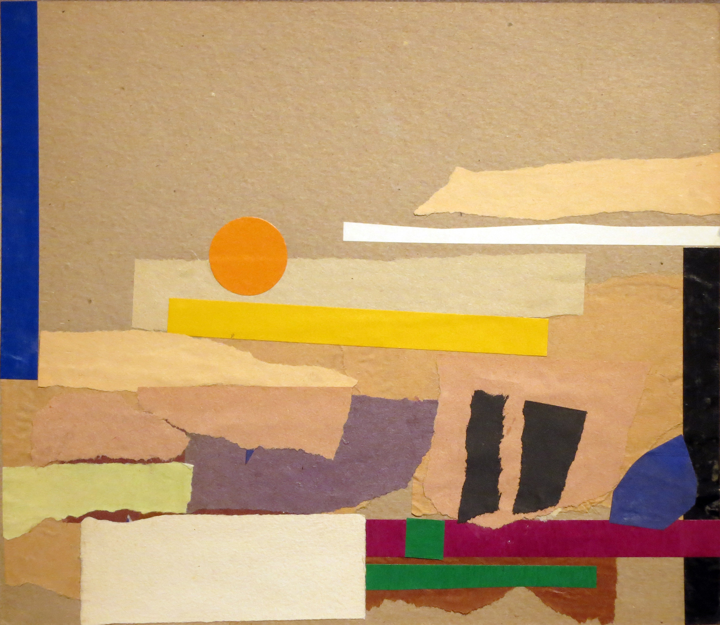 Abstract collage with strips of horizontal paper and orange sun