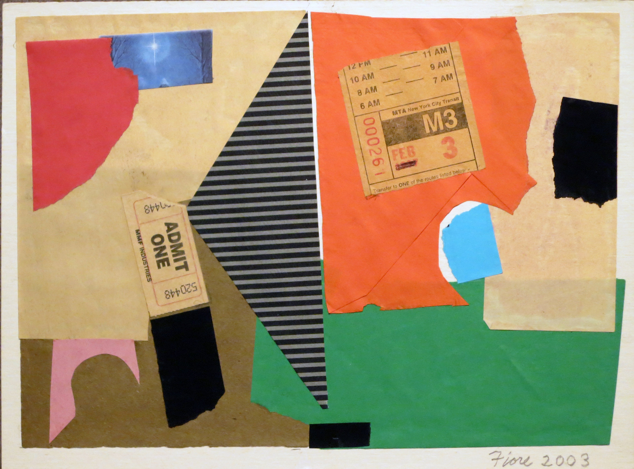 Abstract collage with envelopes, paper, and ticket stub