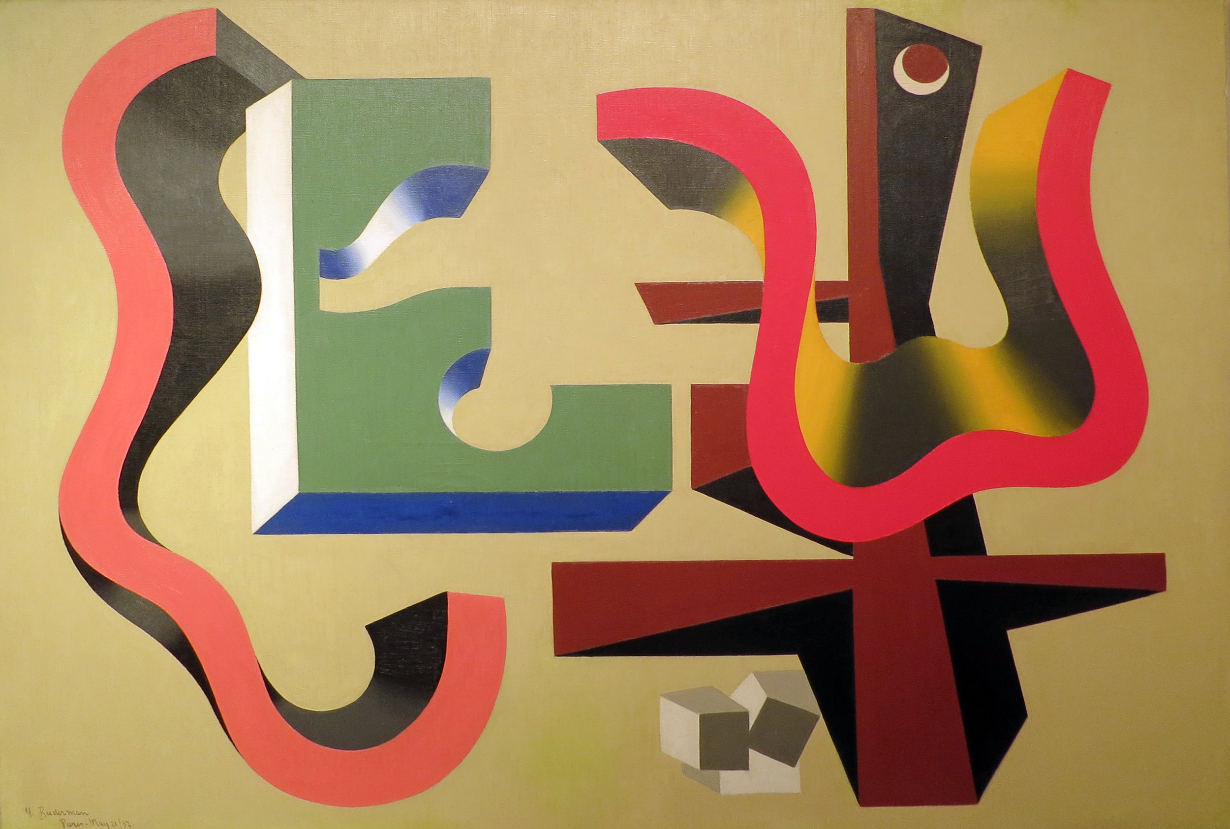 Abstract painting of floating shapes (red, green, black, and blue)
