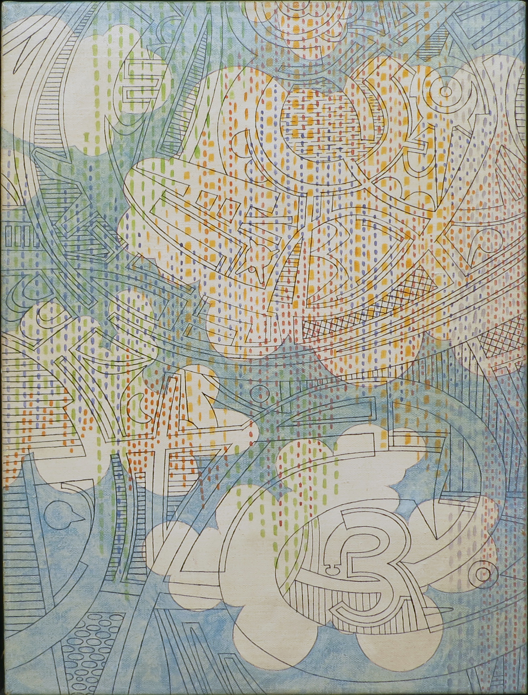 blue sky and white clouds painting with patterned drawing overlaying