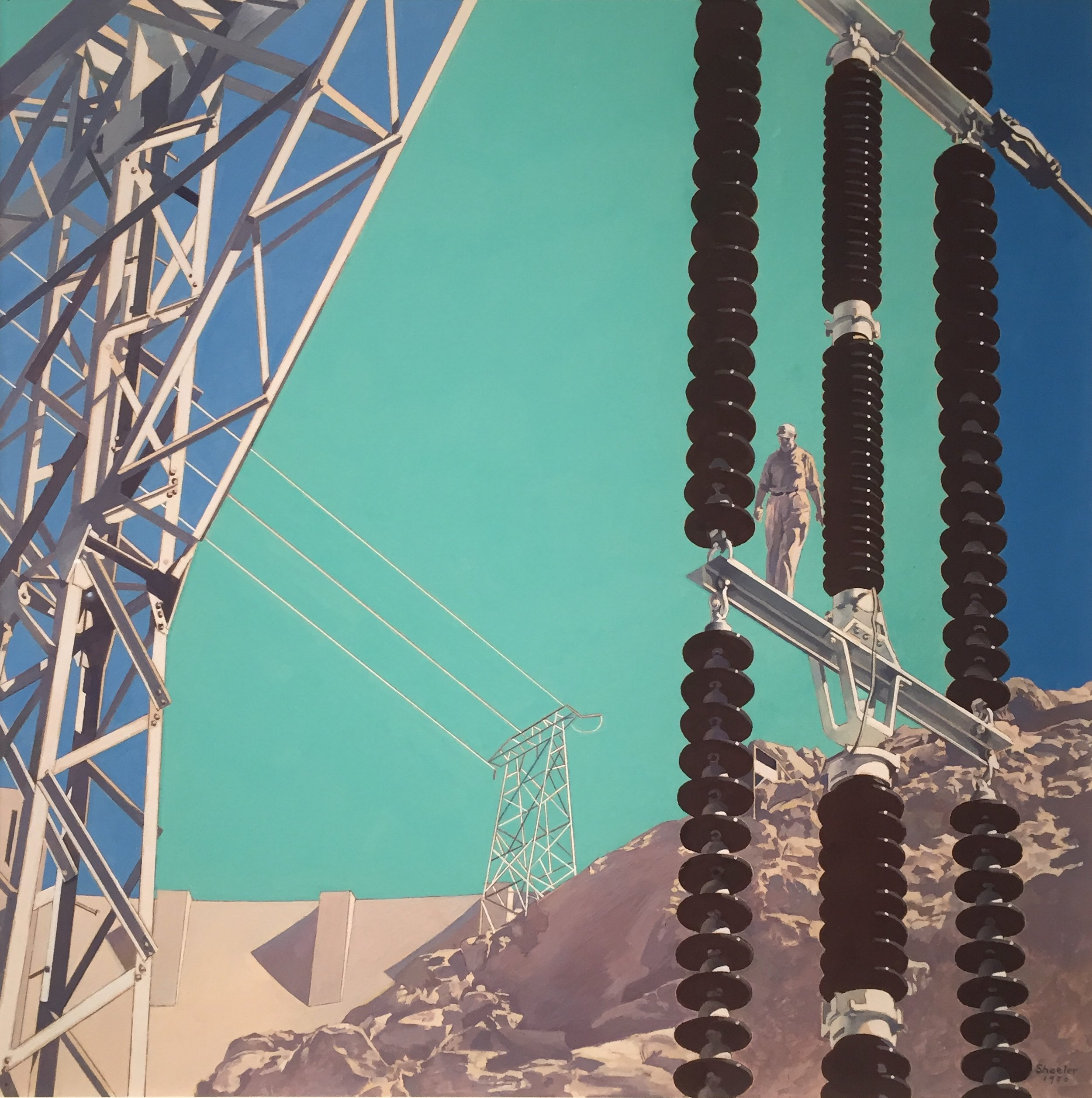 Image of Hoover Dam with man and sky of three different blues