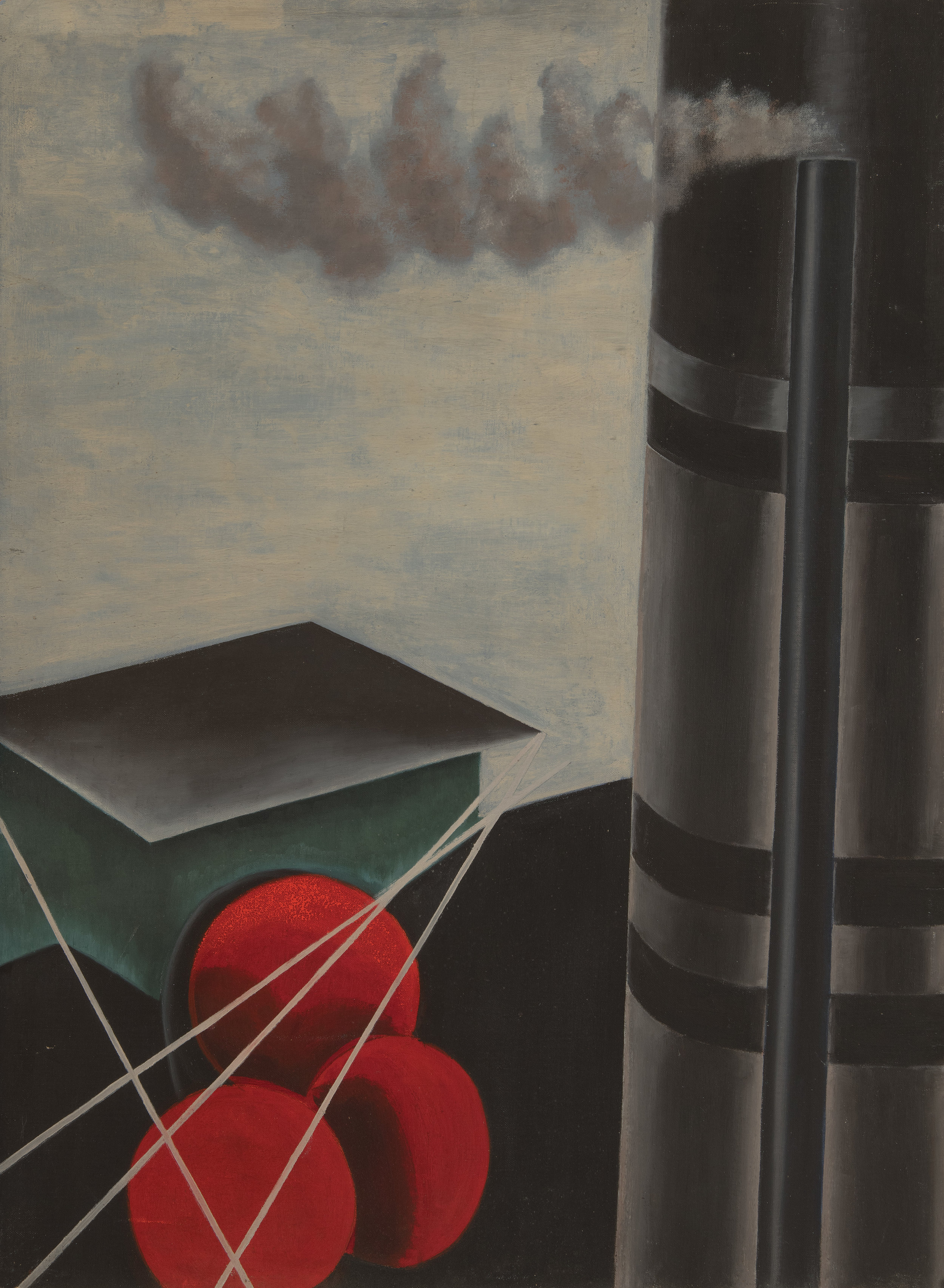 Painting of abstract industrial scene with a black and grey smokestack, three red circles, and a green and grey box